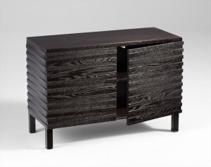 05220 Black Slat Cabinet -Open