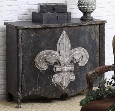 distressed fleur de lis cabinet phag. Black Bedroom Furniture Sets. Home Design Ideas