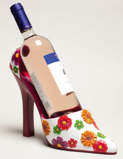 2BHS3371 Floral Shoe Wine Holder