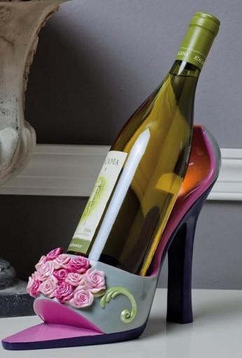 2BHS3418 Roses Shoe Wine Holder