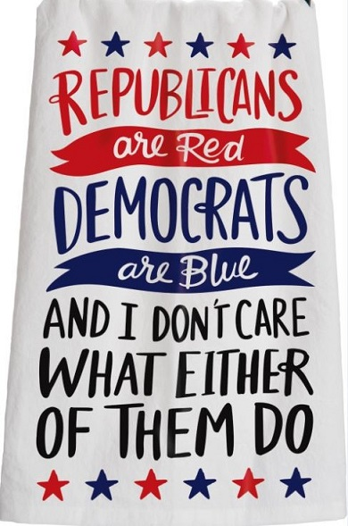 Novelty Red & Blue Political Poem Dish Towel
