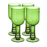 3BCG001 Set 4 Bottle Top Wine Glasses- Green