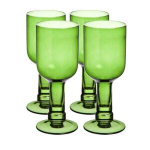 3BCG001 Set 4 Bottle Top Wine Glasses- Green