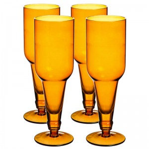 3BCP002 Set 4 Bottle Top Beer Glasses- Amber