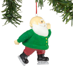 4026639 Retro Flocked Ornament- Santa