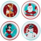 4042042 Set 4- Retro Holiday Appetizer Plates