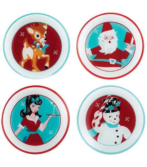 4042042 set 4 retro holiday appetizer plates