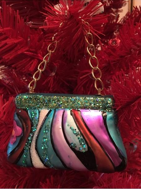 79-00331_thePHAGshop_Blown Glass Blue Purse Ornament- Diva Collection