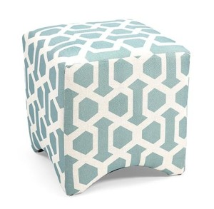 89765 Geometric Ottoman- Blue