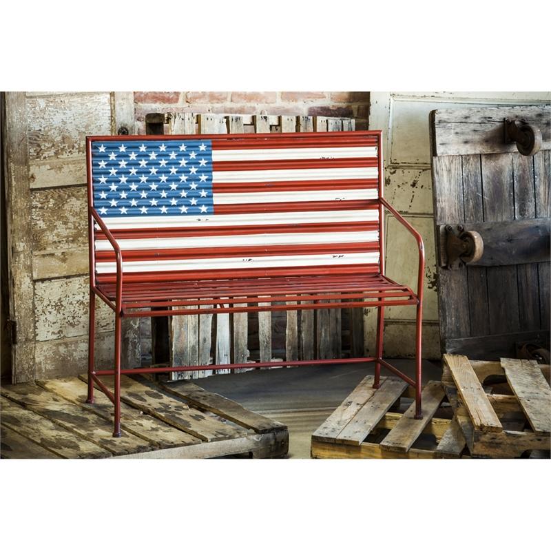 Corrugated Metal American Flag Bench