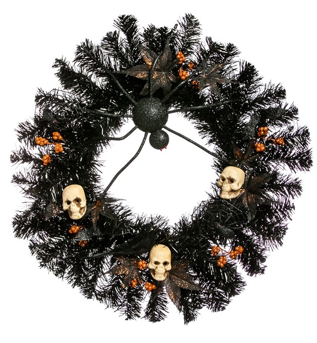 8WR087_thePHAGshop_Black Halloween Spider Skull Wreath