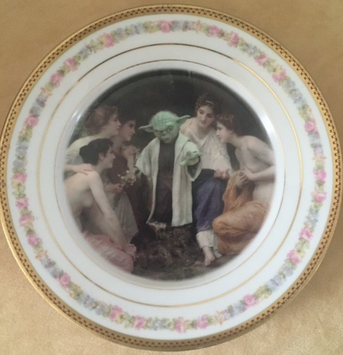 Altered Antique Plate- Yoda & The Nymphs