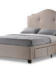 BBT6329_thePHAGshop_Scalloped Upholstered Storage Bed- Beige