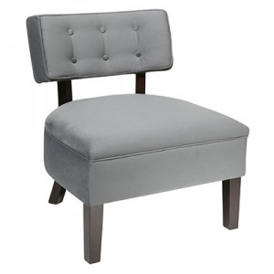 CVS263-C11 Velveteen Button Chair- Charcoal Gray
