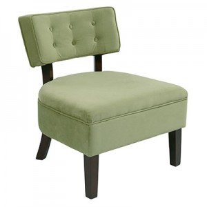 CVS263-G28 Velveteen Button Chair- Spring Green