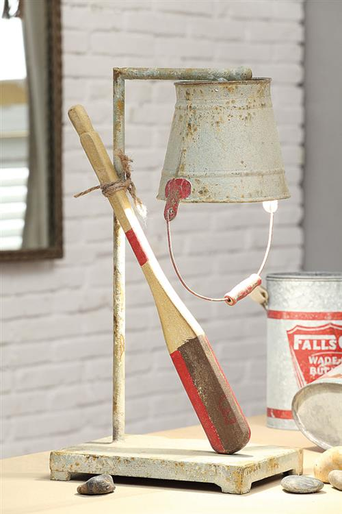 DA1308_thePHAGshop_ Rustic Table Lamp- Oar & Metal Bucket