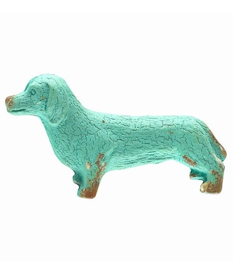 EA419_thePHAGshop_Decorative Wiener Dog Knob- Aqua
