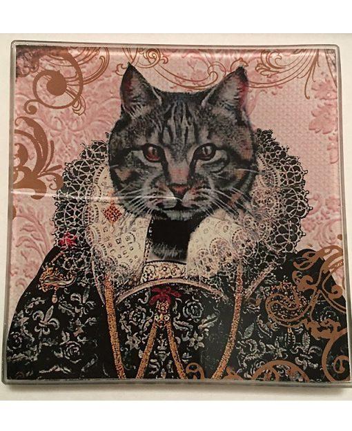 KA148_thePHAGshop_ Royal Feline Decorative Glass Cat Trays- Detail 1