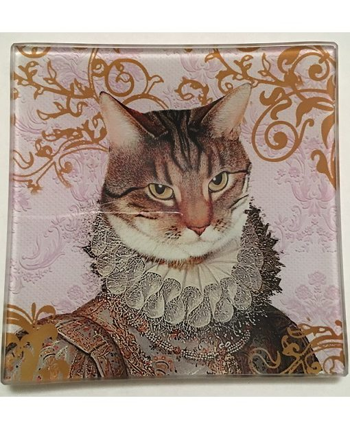 KA148_thePHAGshop_ Royal Feline Decorative Glass Cat Trays- Detail 2