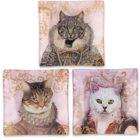 KA148_thePHAGshop_ Royal Feline Decorative Glass Cat Trays- Set 3
