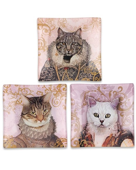 KA148_thePHAGshop_ Royal Feline Decorative Glass Cat Trays- Set 3