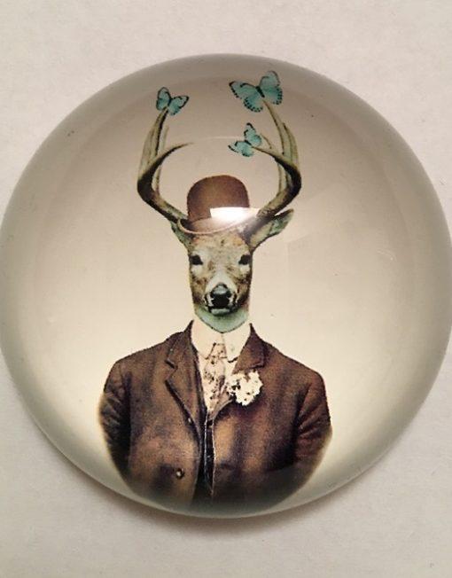 KA174_thePHAGshop_Dapper Deer Glass Paperweight