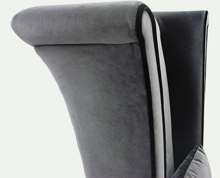 Mad Hatter Grey High Back Chair With Black Piping