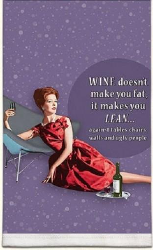 Retro Sassy Towel- Wine Makes You Lean