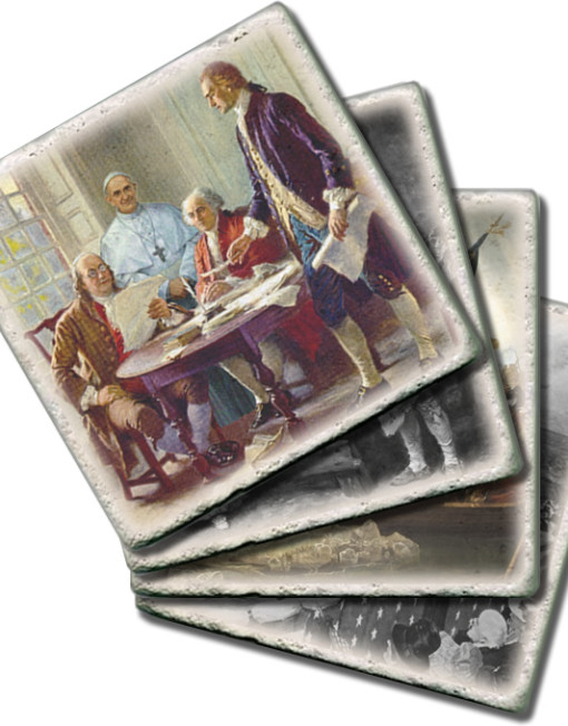 Set 4 Historic Pope Coasters- Stacked