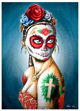 XC168_thePHAGshop_Lady Luna_Female Sugar Skull- Day of the Dead Art