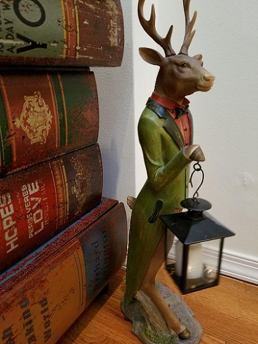XC7977_thePHAGshop_Dapper Deer Sculpture with Lantern Tealight
