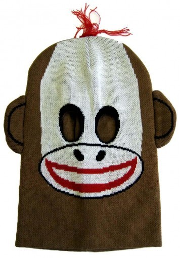 novelty knoit mask- sock monkey