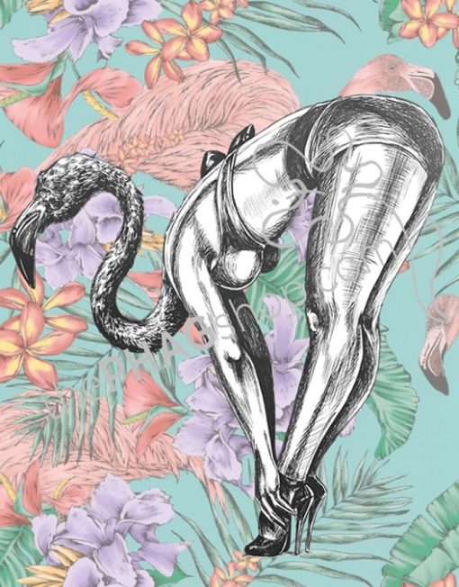 thePHAGshop_Flamingo Art Print Party Animal Pinup- WM