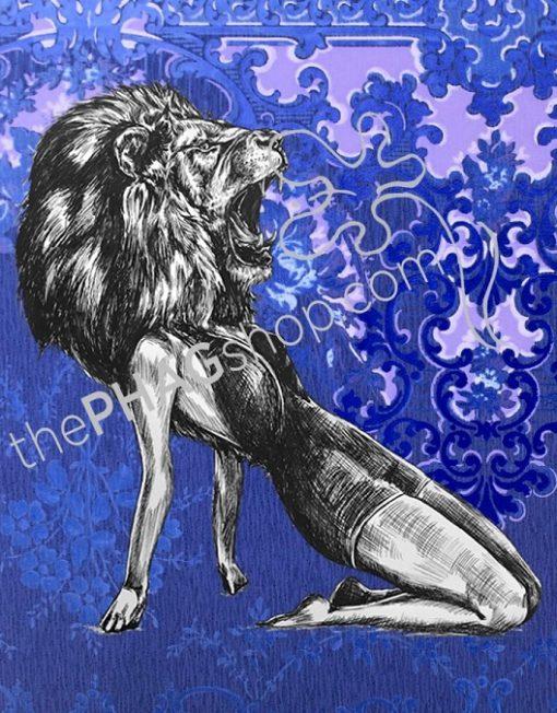 thePHAGshop_Lion Art Print Party Animal Pinup- WM