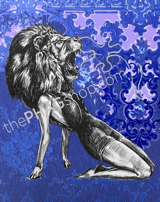 thePHAGshop_Lion Art Print Party Animal Pinup- WM