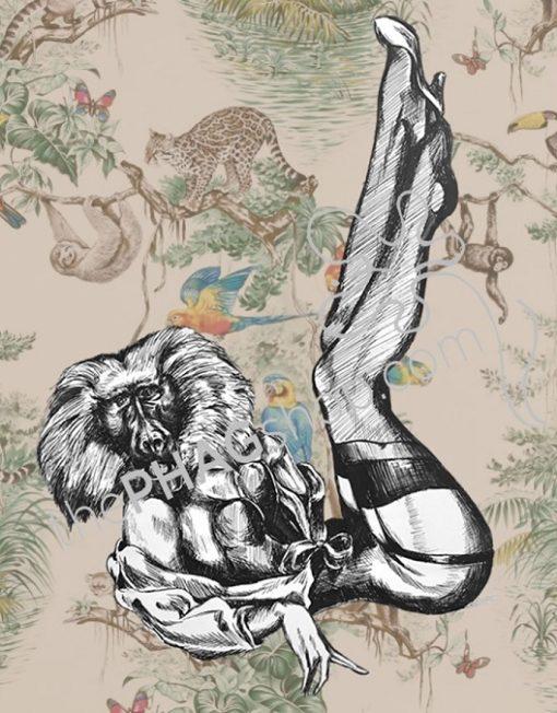 thePHAGshop_Monkey Art Print Party Animal Pinup- WM