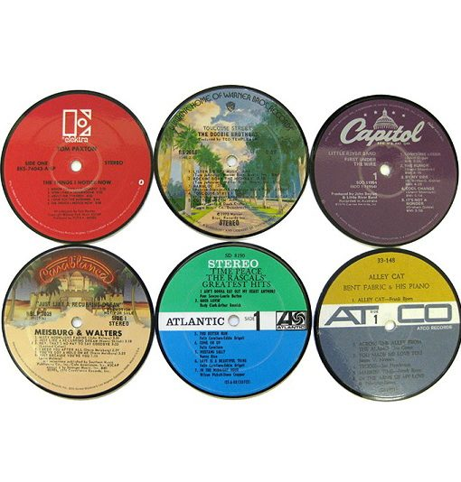 Vintage record label coasters set 6 for Classic house record labels